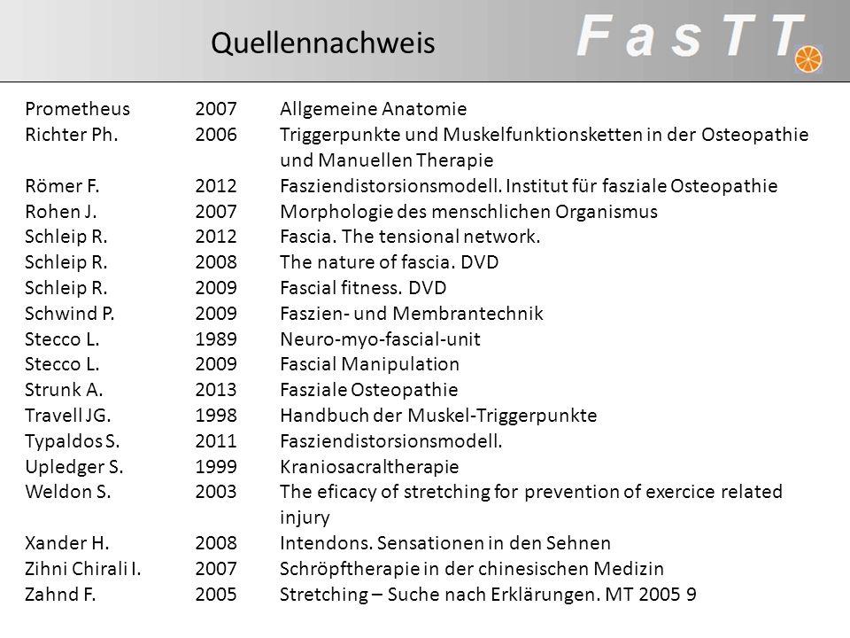 Quellennachweis Prometheus 2007 Allgemeine Anatomie. Richter Ph. 2006 Triggerpunkte und Muskelfunktionsketten in der Osteopathie.