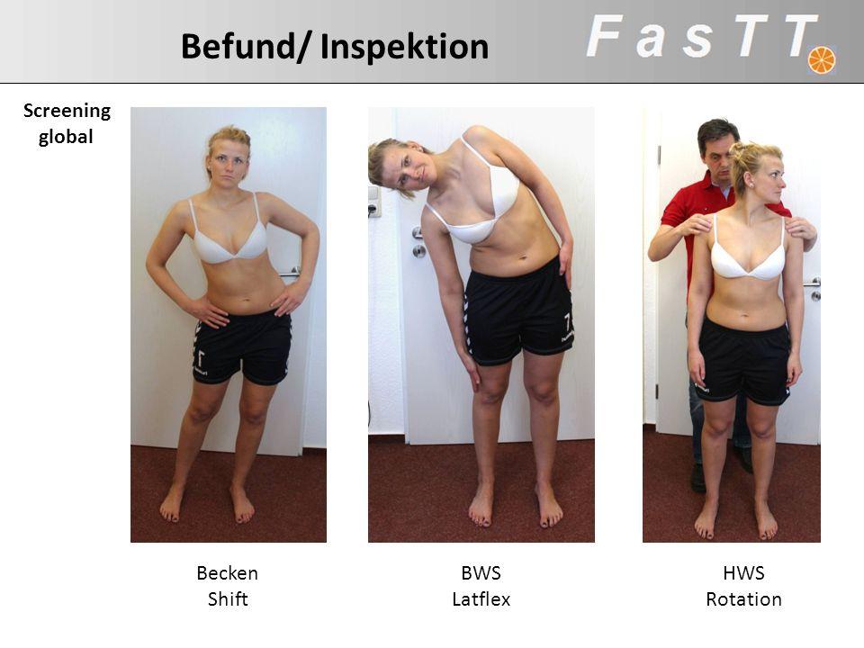 Befund/ Inspektion Screening global Becken Shift BWS Latflex HWS Rotation