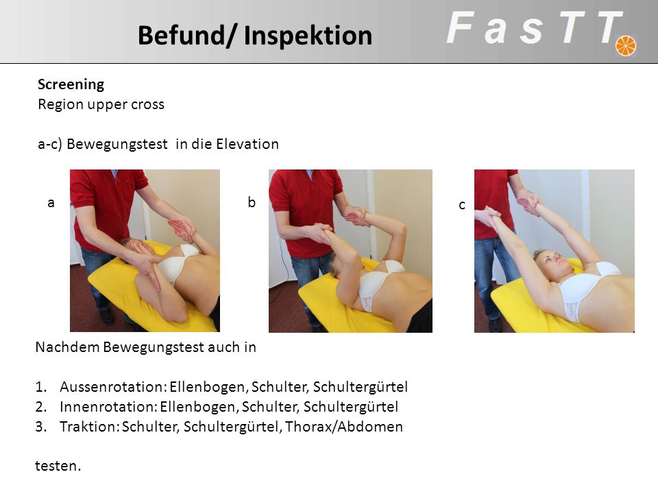 Befund/ Inspektion Screening. Region upper cross. a-c) Bewegungstest in die Elevation. a. b. c.