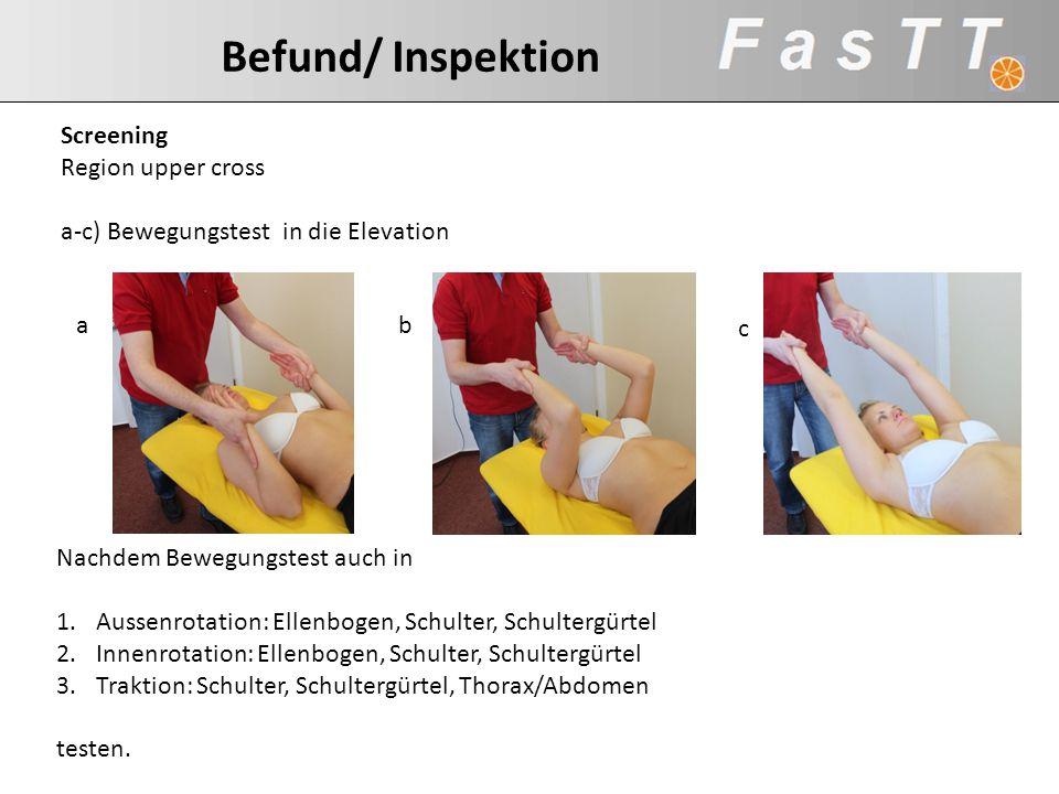 Befund/ Inspektion Screening. Region upper cross. a-c) Bewegungstest in die Elevation. a. b. c.