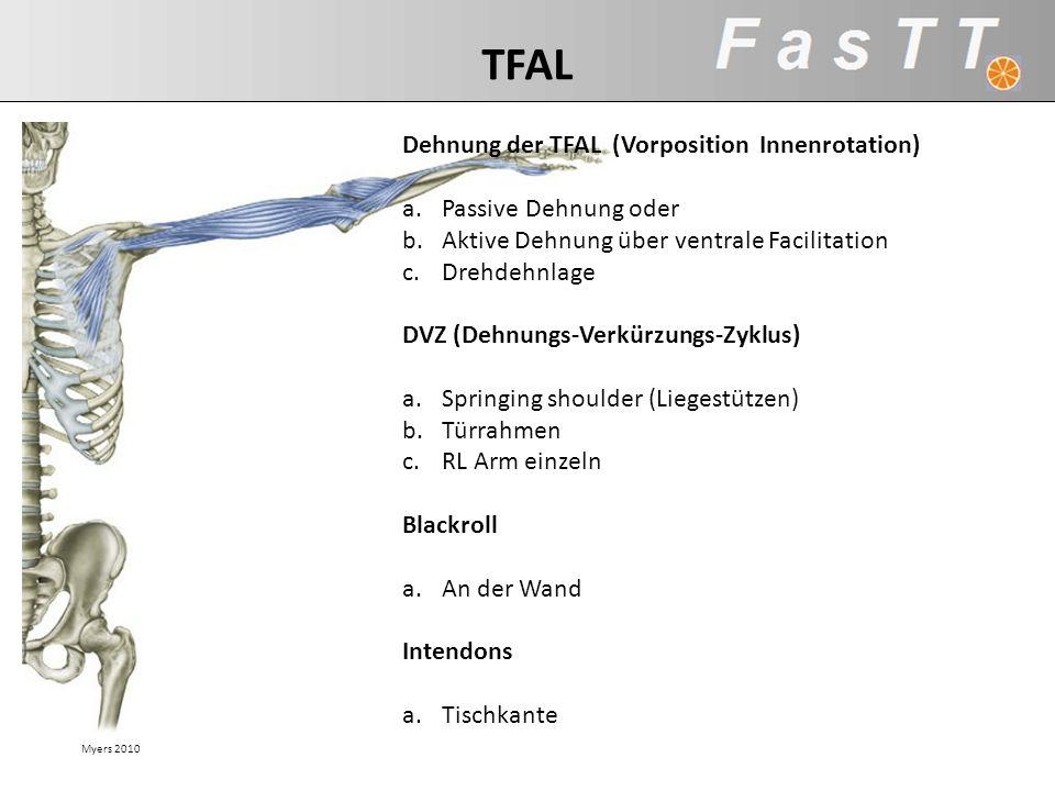 TFAL Dehnung der TFAL (Vorposition Innenrotation) Passive Dehnung oder