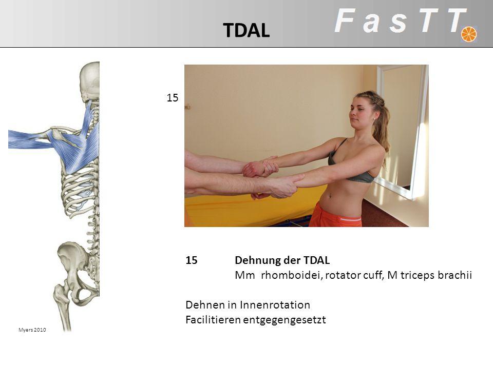 TDAL 15. TDAL: mm rhomboidei, rotator cuff, m triceps brachii. 15 Dehnung der TDAL Mm rhomboidei, rotator cuff, M triceps brachii.