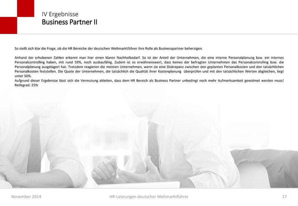 IV Ergebnisse Business Partner II