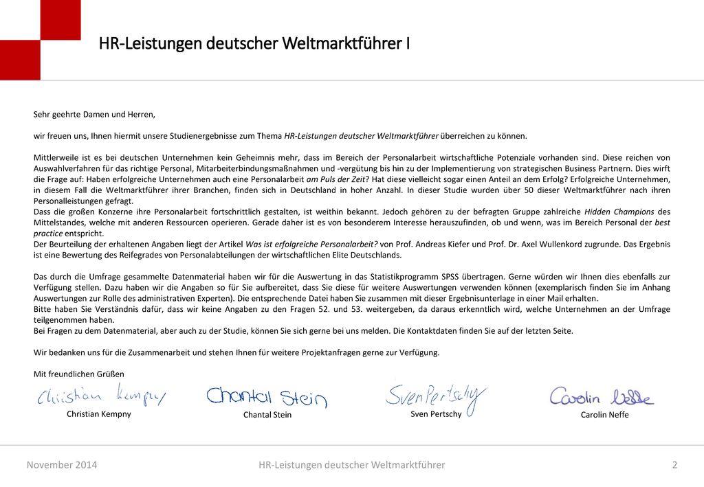 HR-Leistungen deutscher Weltmarktführer I