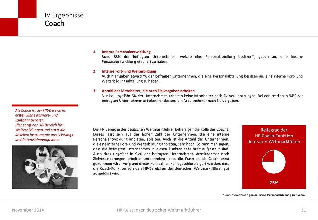 IV Ergebnisse Coach 1. Interne Personalentwicklung.