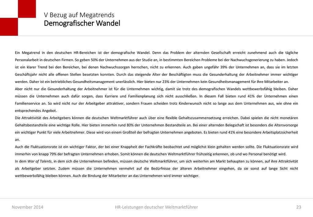 V Bezug auf Megatrends Demografischer Wandel