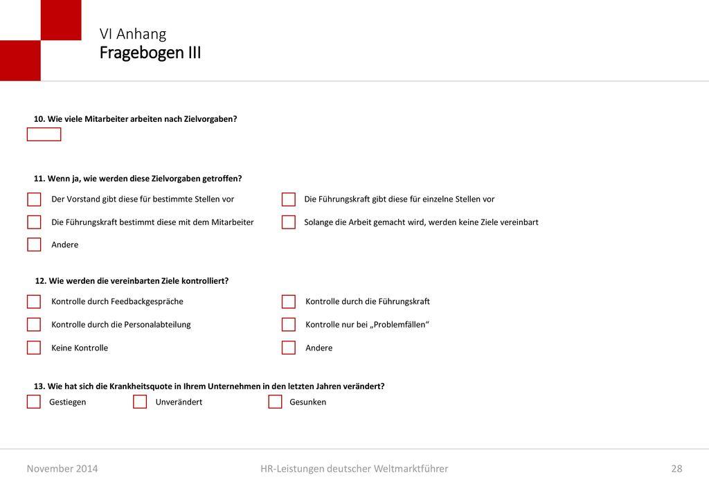 VI Anhang Fragebogen III