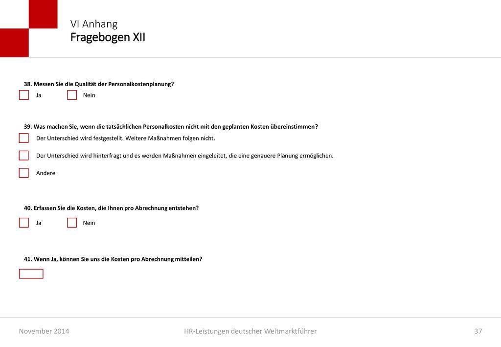 VI Anhang Fragebogen XII