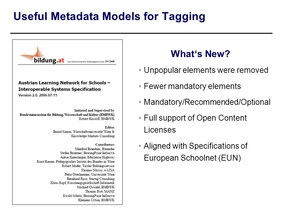 Useful Metadata Models for Tagging