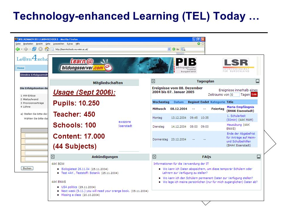 Technology-enhanced Learning (TEL) Today …