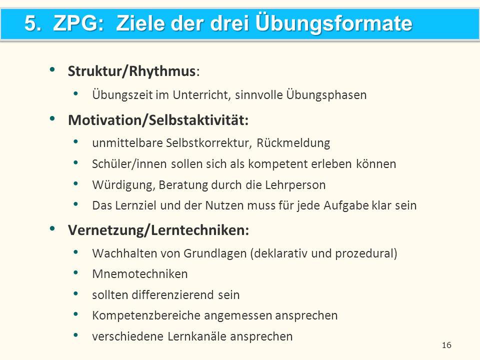5. ZPG: Ziele der drei Übungsformate