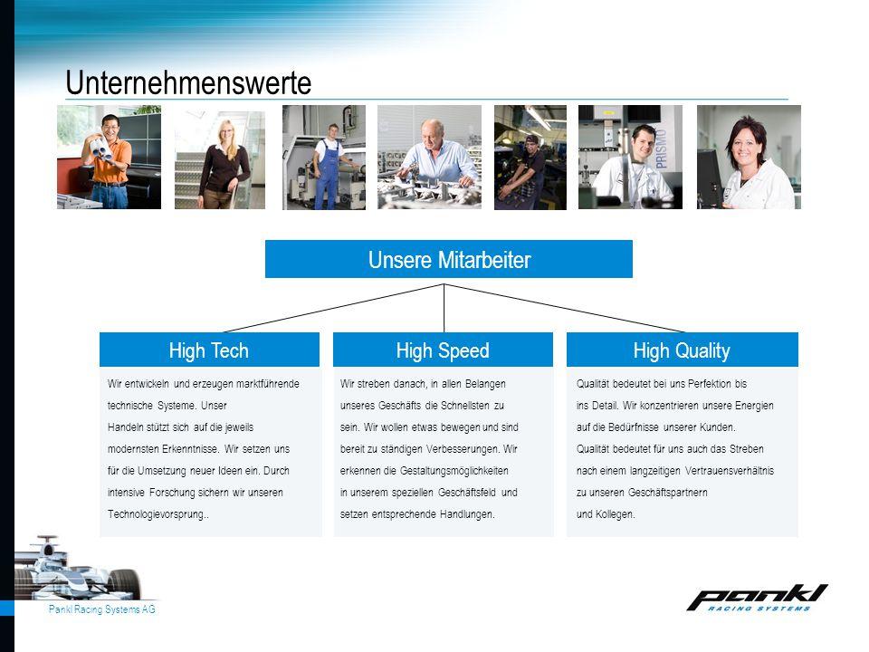 Unternehmenswerte Unsere Mitarbeiter High Tech High Speed High Quality