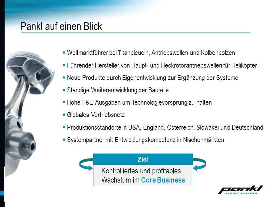 Pankl auf einen Blick Weltmarktführer bei Titanpleueln, Antriebswellen und Kolbenbolzen.