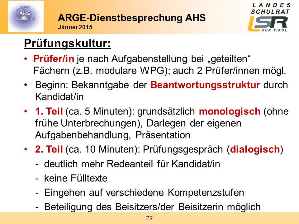 Prüfungskultur: ARGE-Dienstbesprechung AHS