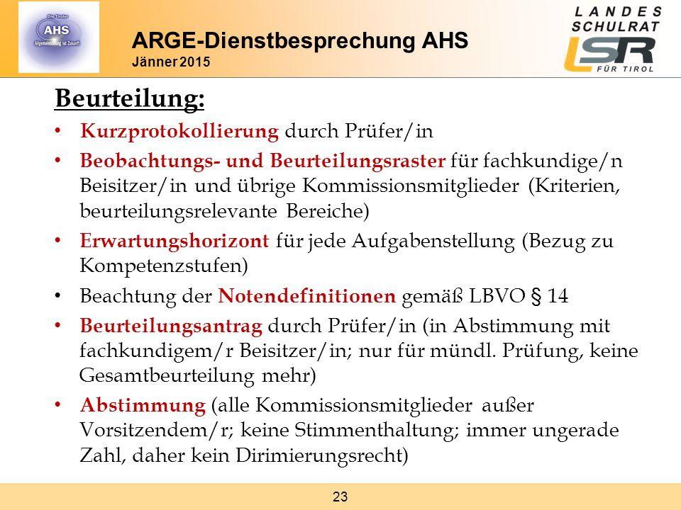 Beurteilung: ARGE-Dienstbesprechung AHS