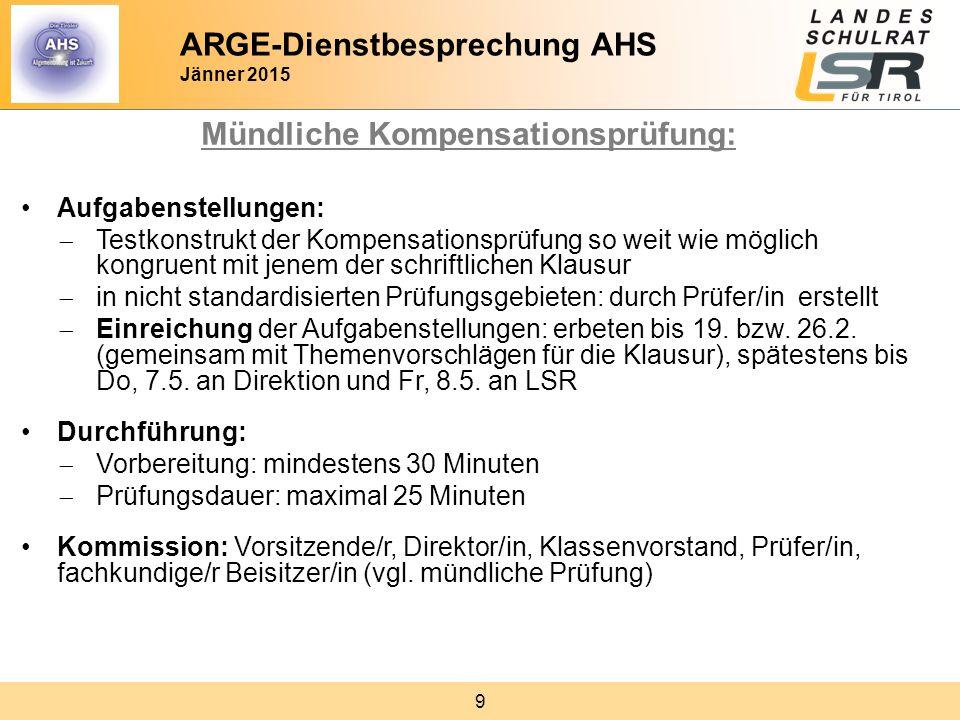 ARGE-Dienstbesprechung AHS Jänner 2015