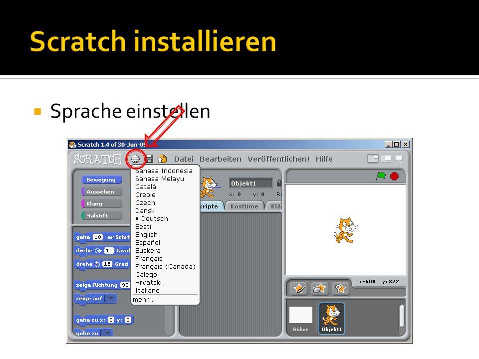 Scratch installieren Sprache einstellen