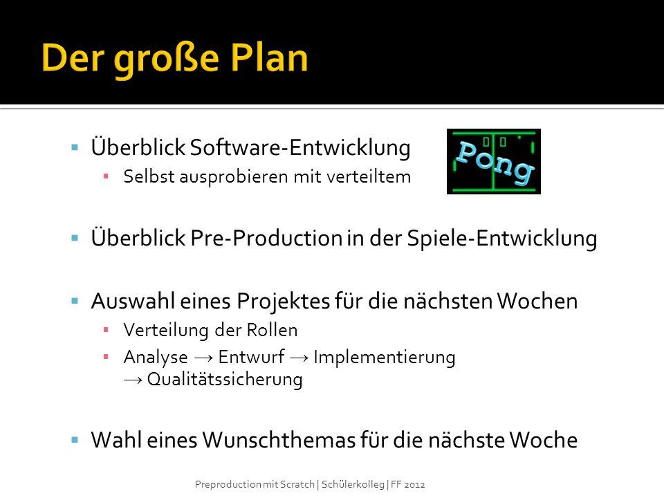Der große Plan Pong Überblick Software-Entwicklung