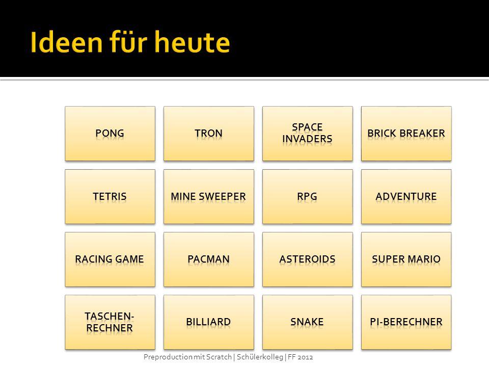 Ideen für heute Pong Tron Space Invaders Brick Breaker Tetris