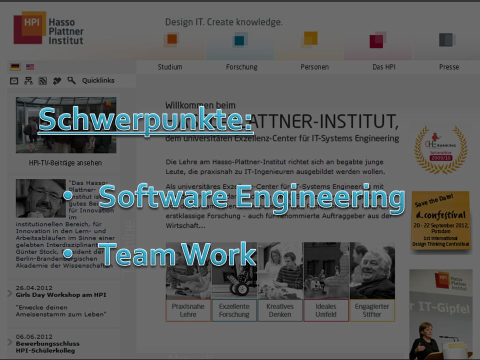 Schwerpunkte: Software Engineering Team Work