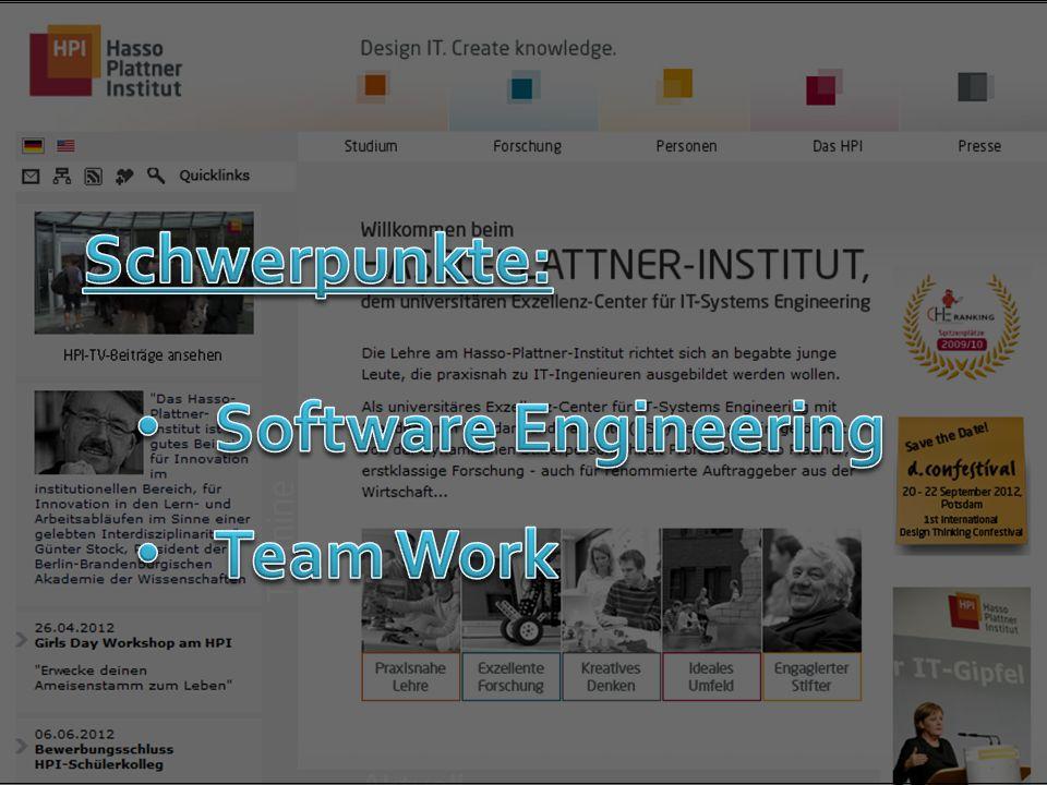 Schwerpunkte: Software Engineering Team Work