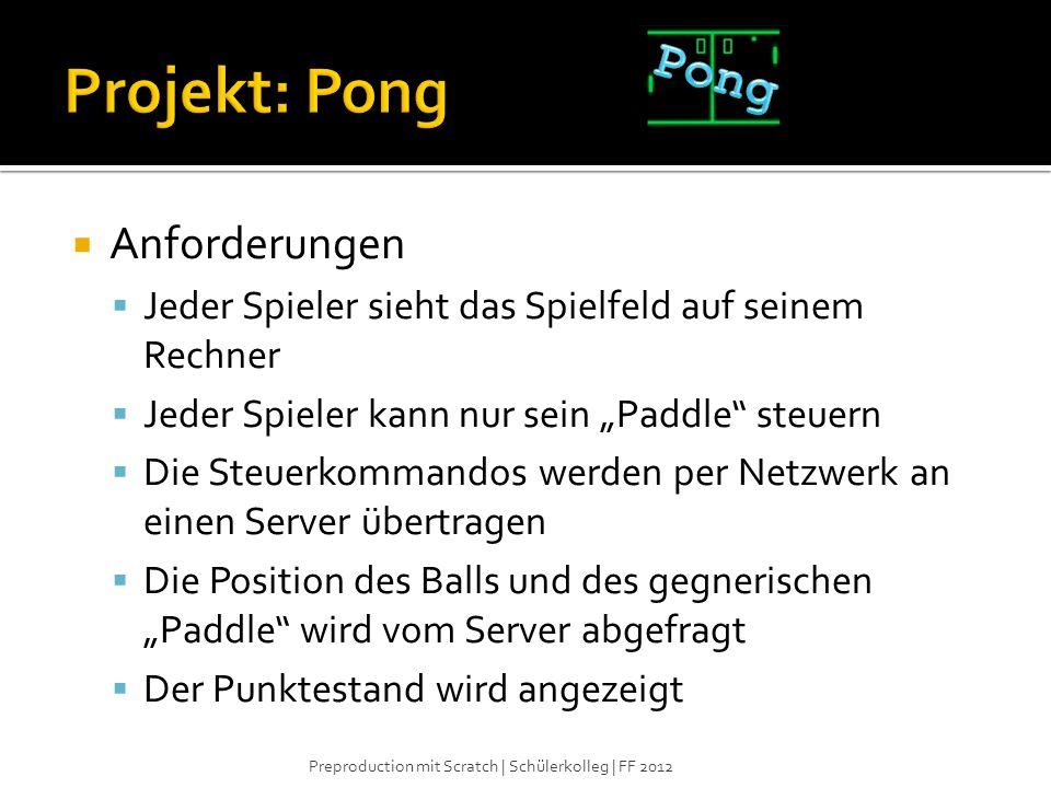 Projekt: Pong Pong Anforderungen