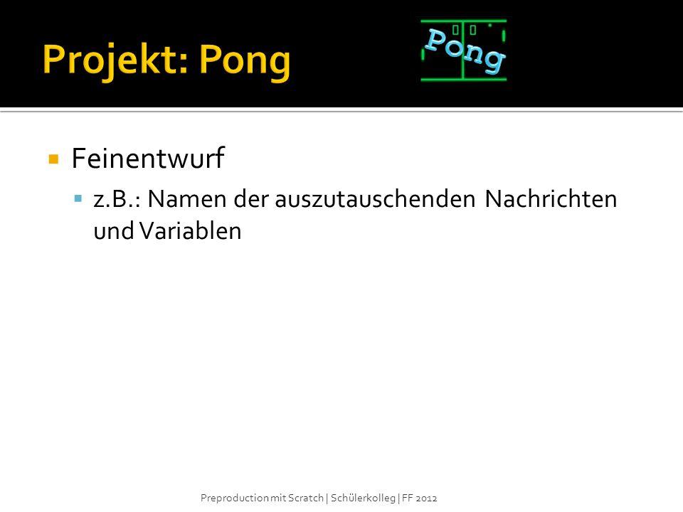 Projekt: Pong Pong Feinentwurf