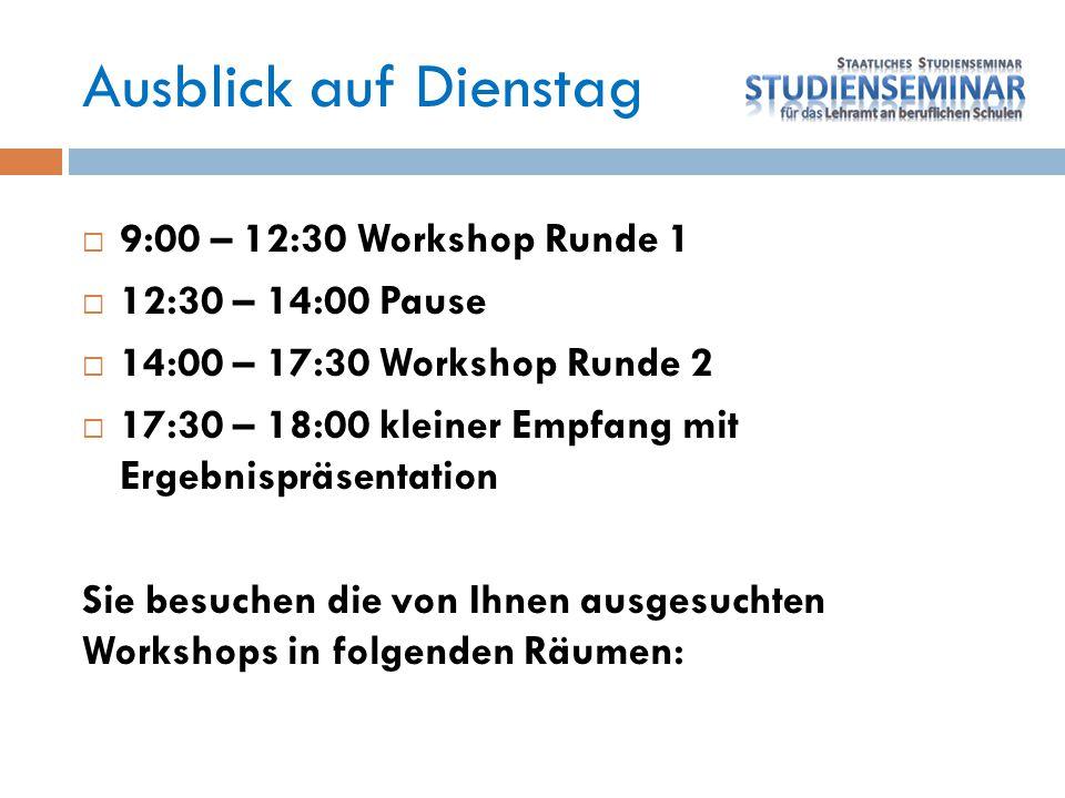 Ausblick auf Dienstag 9:00 – 12:30 Workshop Runde 1