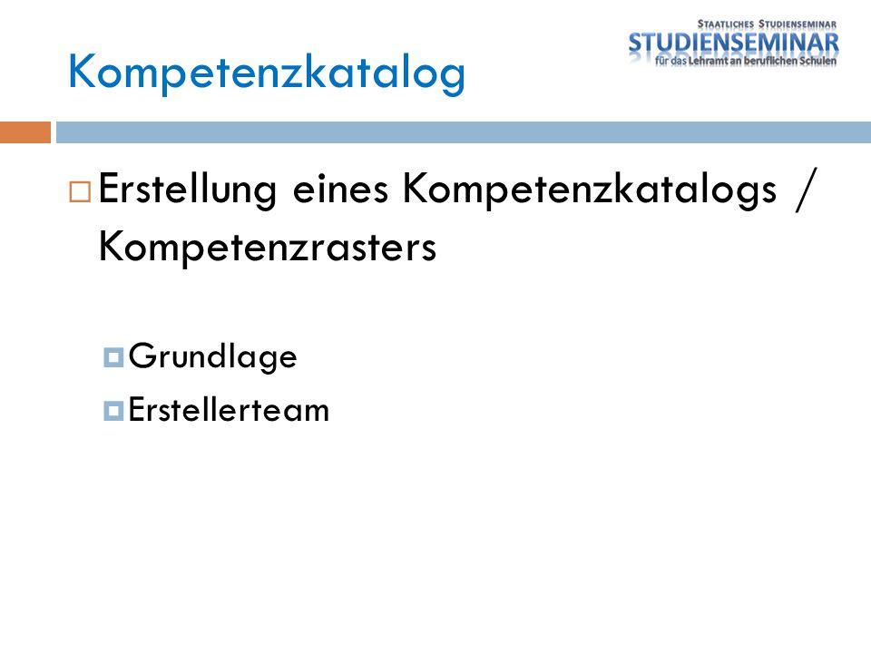 Kompetenzkatalog Erstellung eines Kompetenzkatalogs / Kompetenzrasters