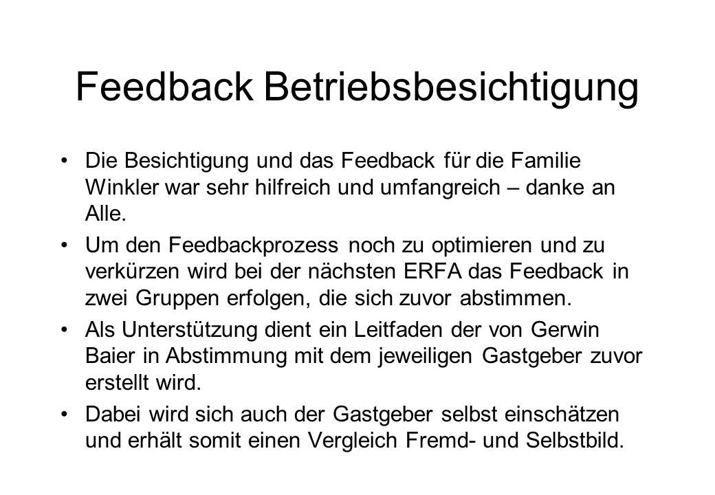 Feedback Betriebsbesichtigung