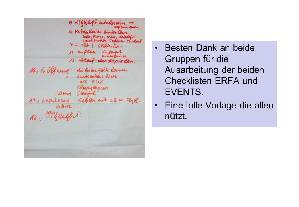 Besten Dank an beide Gruppen für die Ausarbeitung der beiden Checklisten ERFA und EVENTS.