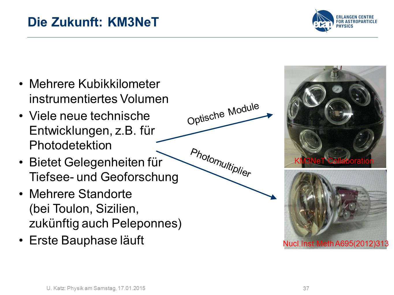 Die Zukunft: KM3NeT Mehrere Kubikkilometer instrumentiertes Volumen