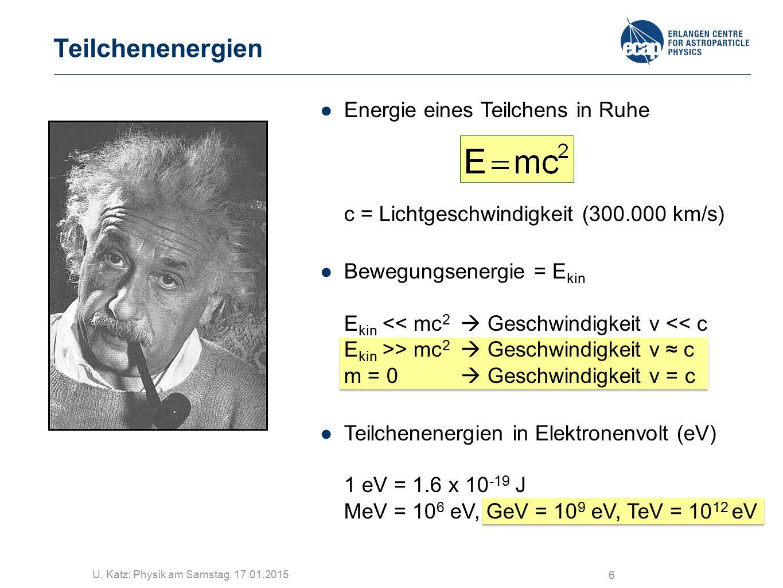 Teilchenenergien Energie eines Teilchens in Ruhe c = Lichtgeschwindigkeit (300.000 km/s)