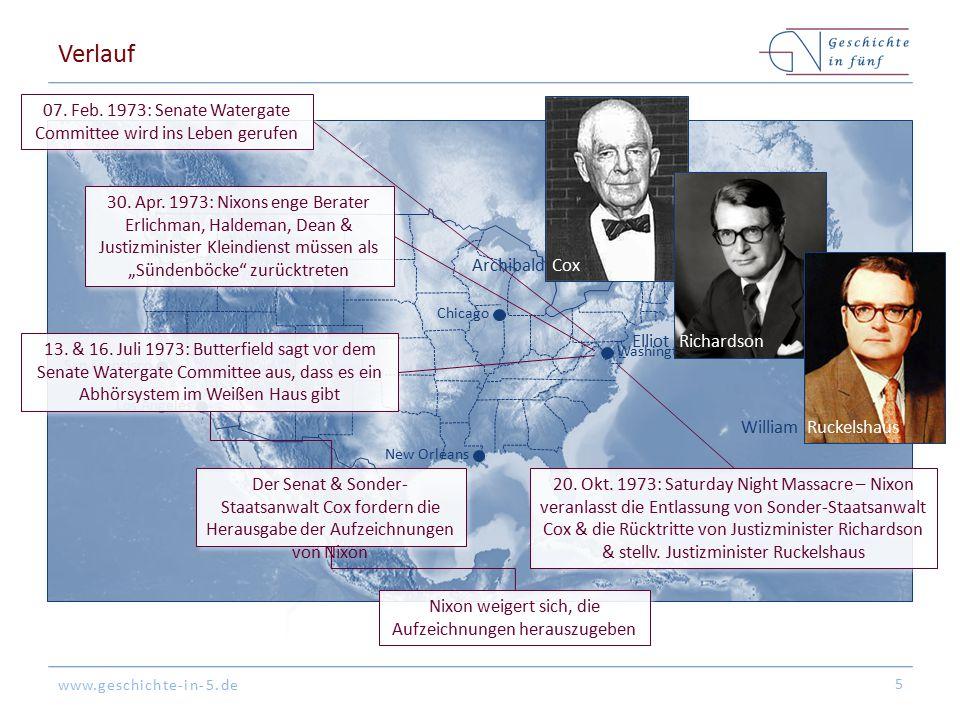 Verlauf 07. Feb. 1973: Senate Watergate Committee wird ins Leben gerufen. Archibald Cox. Washington.