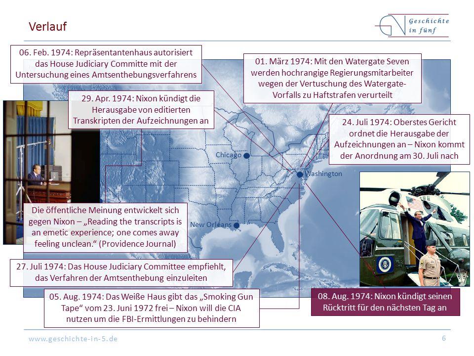 08. Aug. 1974: Nixon kündigt seinen Rücktritt für den nächsten Tag an