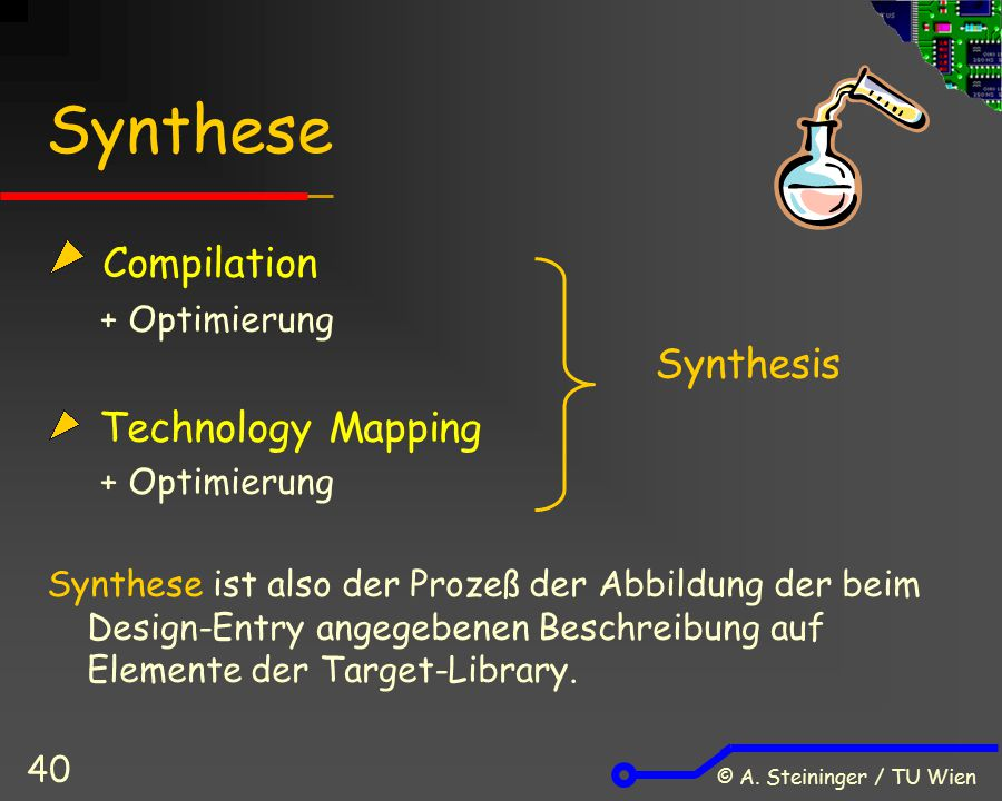 Synthese Compilation Technology Mapping Synthesis + Optimierung