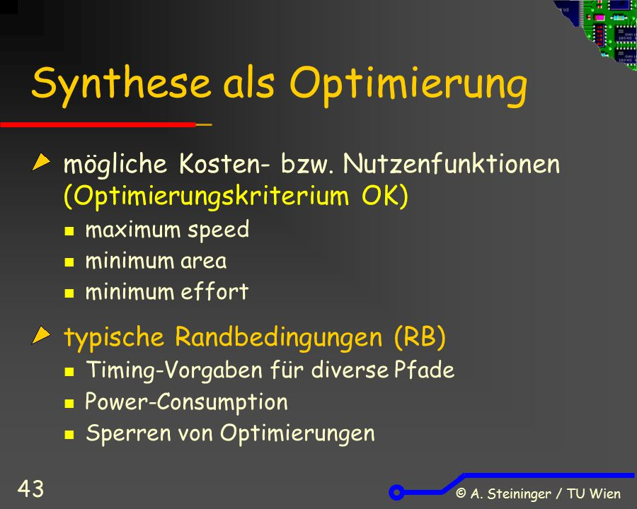 Synthese als Optimierung