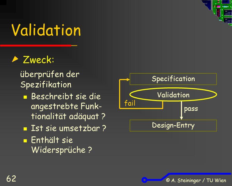 Validation Zweck: überprüfen der Spezifikation