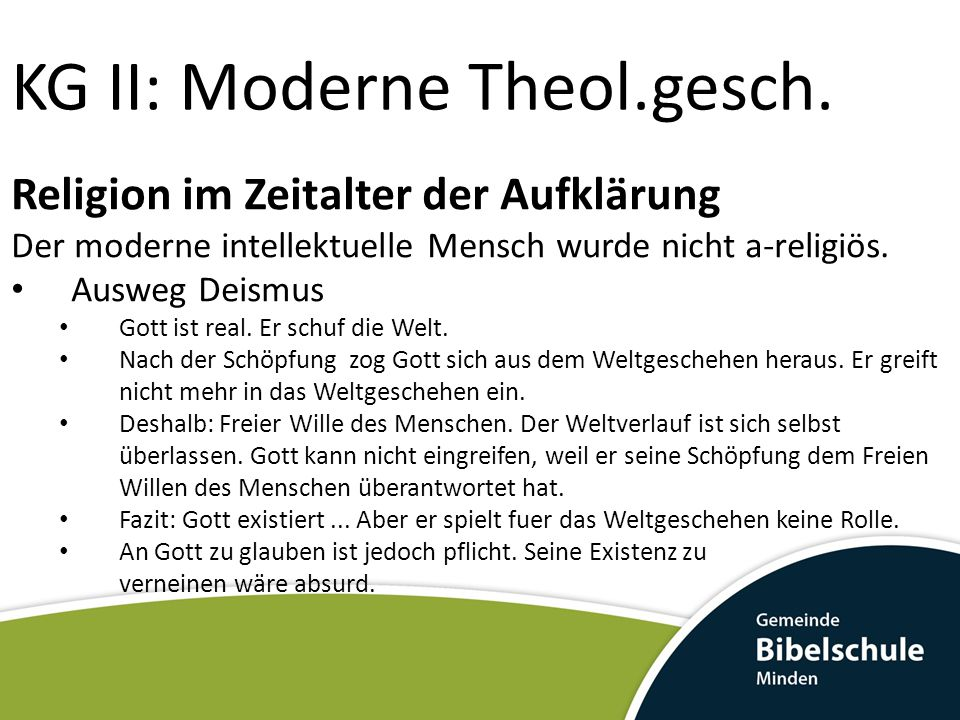 KG II: Moderne Theol.gesch.