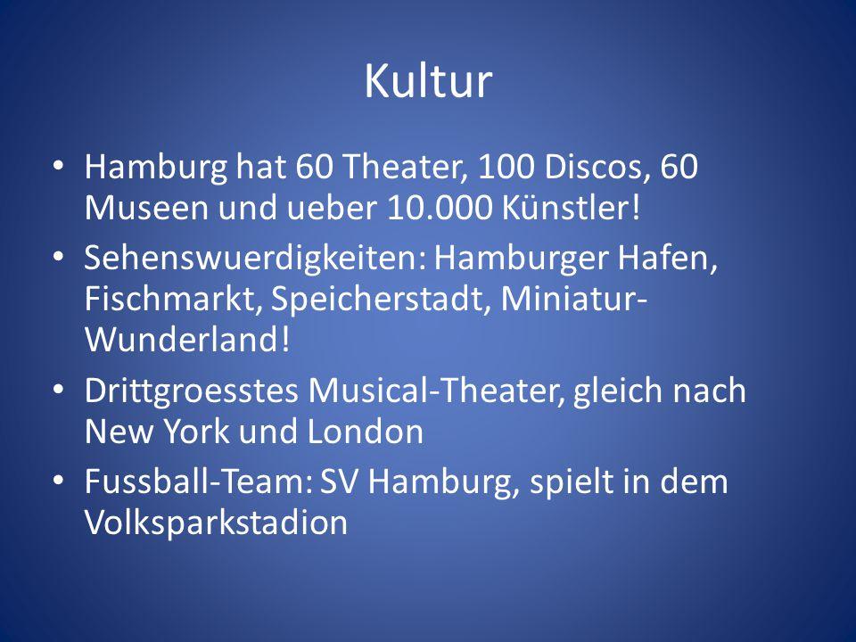 Kultur Hamburg hat 60 Theater, 100 Discos, 60 Museen und ueber 10.000 Künstler!