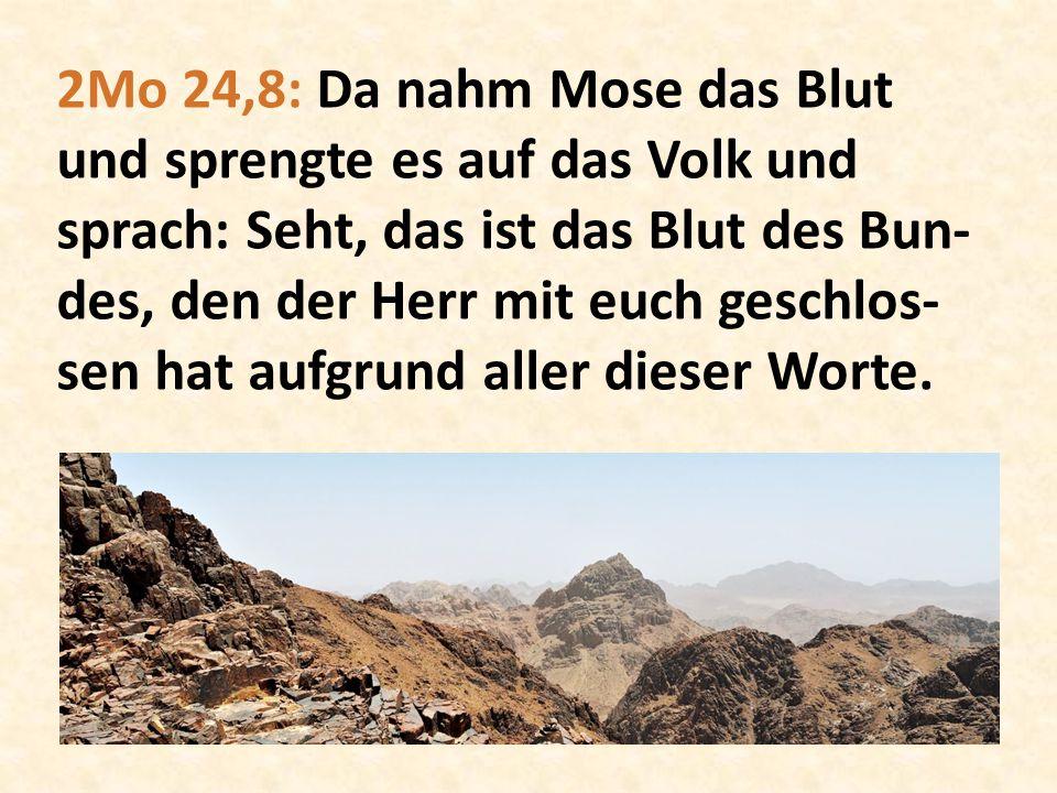 2Mo 24,8: Da nahm Mose das Blut und sprengte es auf das Volk und sprach: Seht, das ist das Blut des Bun-des, den der Herr mit euch geschlos-sen hat aufgrund aller dieser Worte.