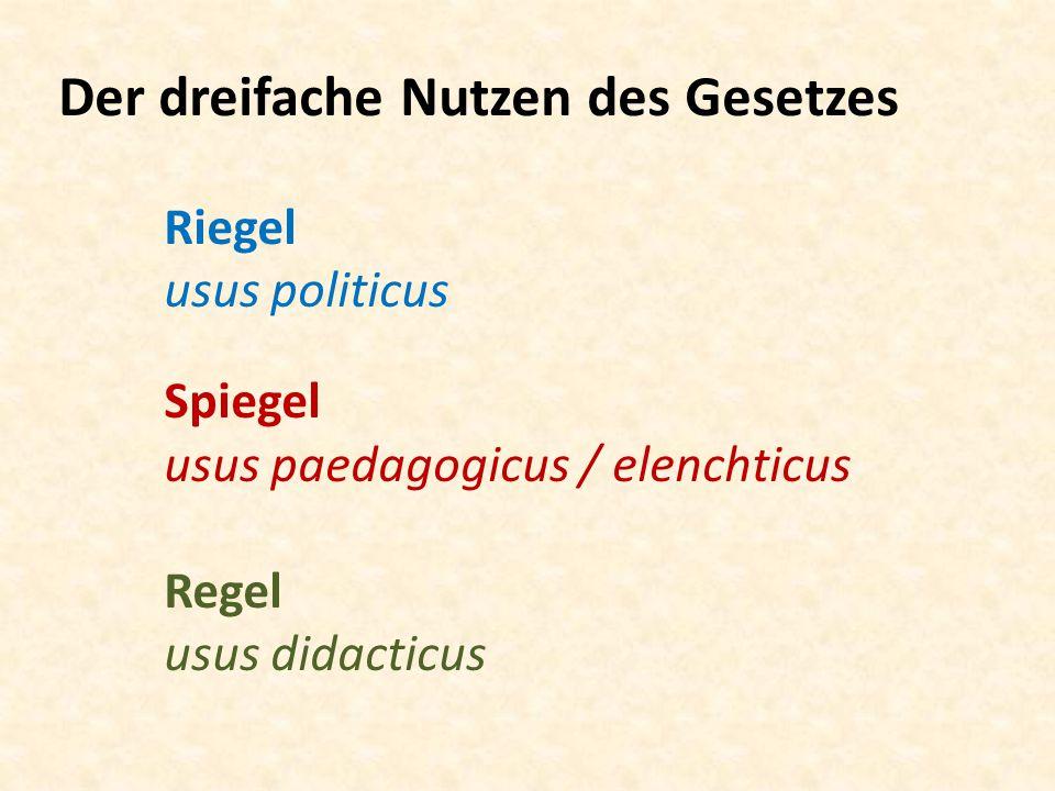Der dreifache Nutzen des Gesetzes. Riegel. usus politicus. Spiegel