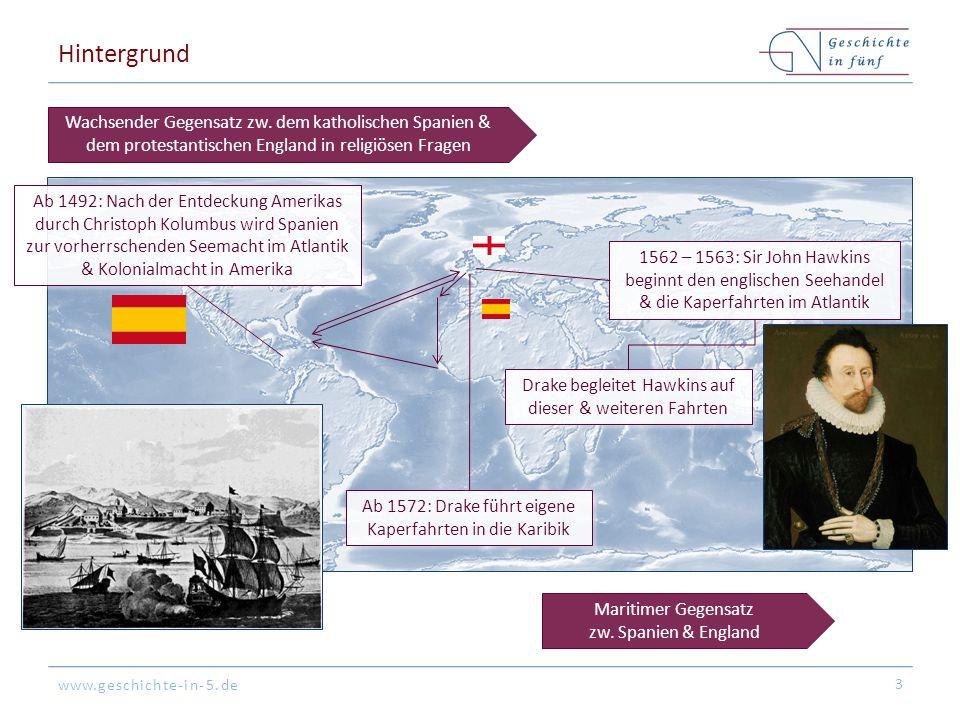Hintergrund Wachsender Gegensatz zw. dem katholischen Spanien & dem protestantischen England in religiösen Fragen.