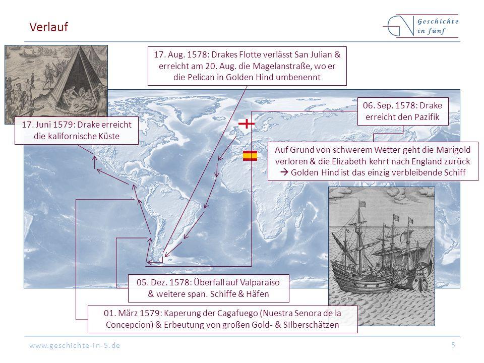 Verlauf 17. Aug. 1578: Drakes Flotte verlässt San Julian & erreicht am 20. Aug. die Magelanstraße, wo er die Pelican in Golden Hind umbenennt.