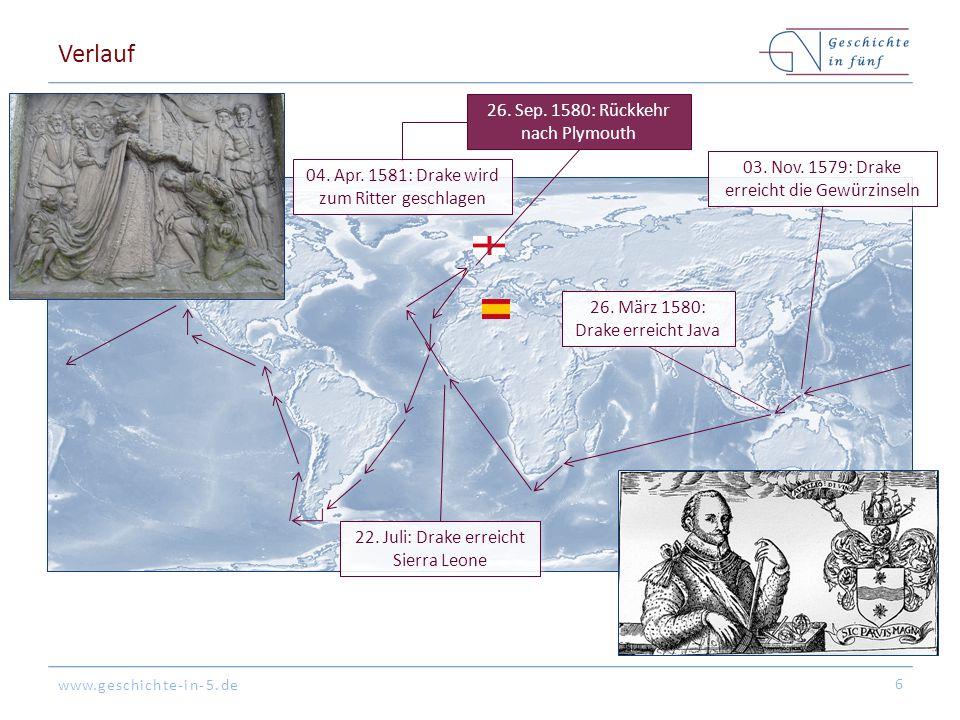 Verlauf 26. Sep. 1580: Rückkehr nach Plymouth