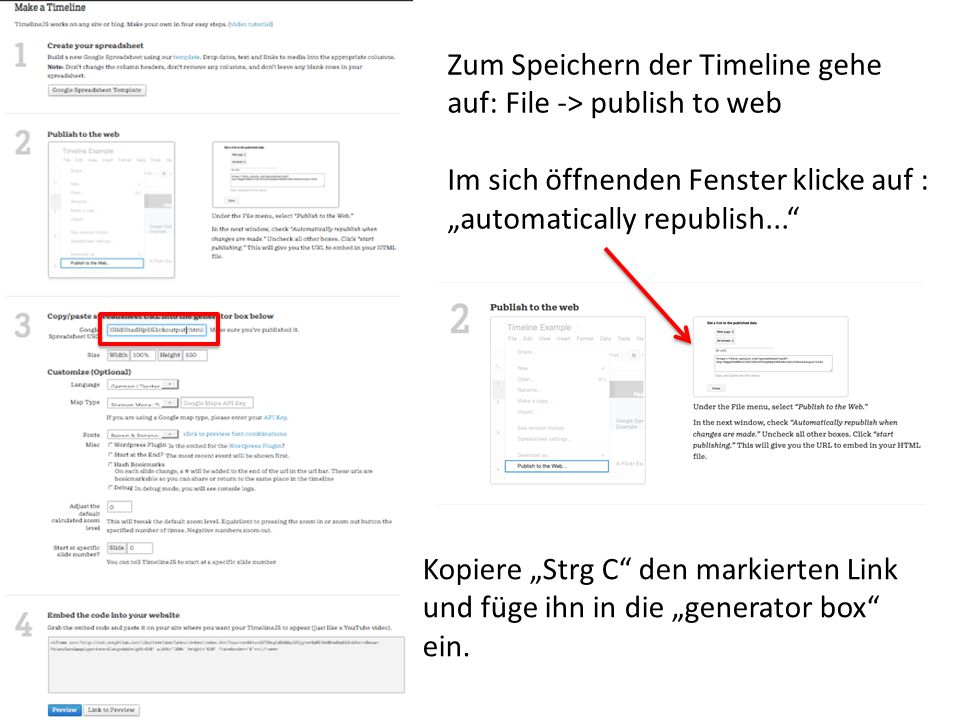 Zum Speichern der Timeline gehe auf: File -> publish to web