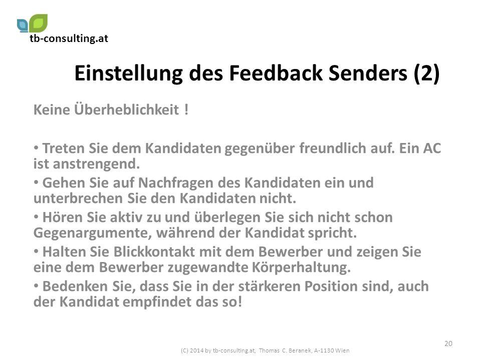 Einstellung des Feedback Senders (2)