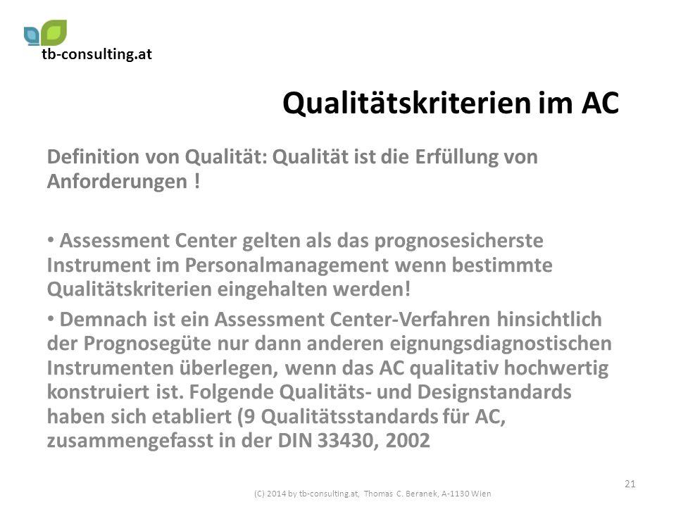 Qualitätskriterien im AC
