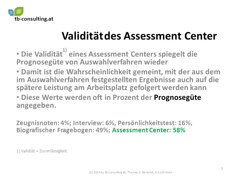 Validität des Assessment Center