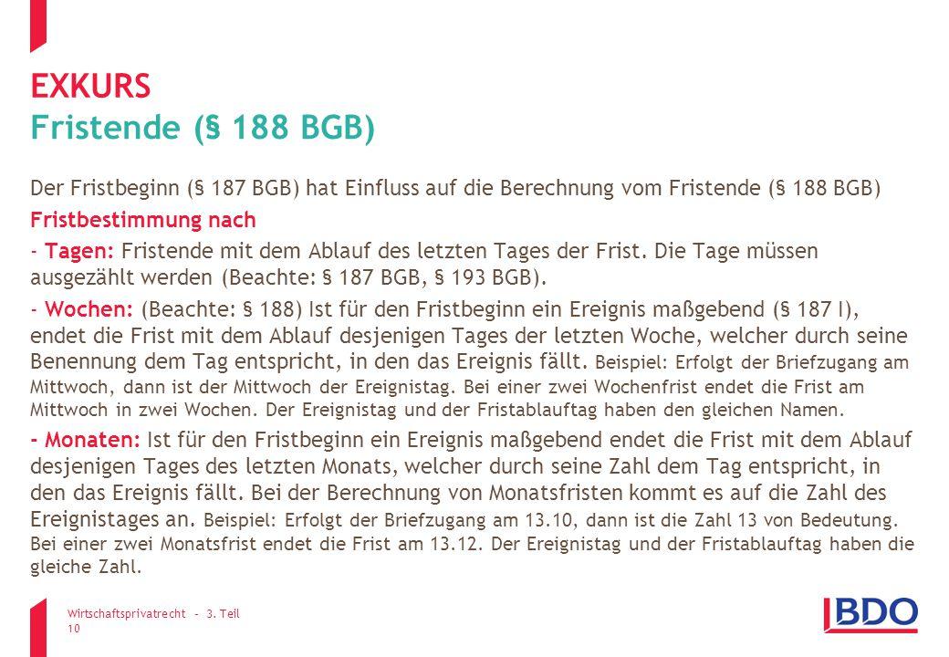 exkurs Fristende (§ 188 BGB)